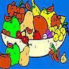 Friss gyümölcs kosár színezés játék
